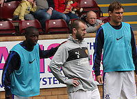 James McFadden (centre) chats with former teammates in the Motherwell v Everton friendly match at Fir Park, Motherwell on 21.7.12 for Steven Hammell's Testimonial.