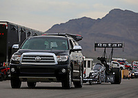 Mar 29, 2014; Las Vegas, NV, USA; The Toyota tow vehicle of NHRA top fuel driver Shawn Langdon during qualifying for the Summitracing.com Nationals at The Strip at Las Vegas Motor Speedway. Mandatory Credit: Mark J. Rebilas-