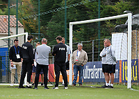 Paul Simpson, England Manager, chats with the FIFA Officials about the state of the pitch during Guatemala Under-23 vs England Under-20, Tournoi Maurice Revello Football at Stade Marcel Cerdan on 11th June 2019