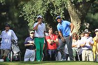 Matteo Manassero (ITA) Nicolas Colsaerts (BEL) during the final day of the  Andalucía Masters at Club de Golf Valderrama, Sotogrande, Spain. .Picture Fran Caffrey www.golffile.ie