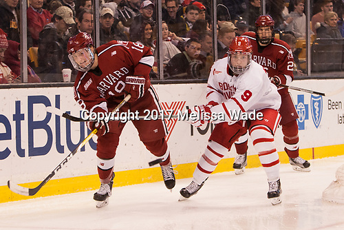 Adam Fox (Harvard - 18), Kieffer Bellows (BU - 9), Jacob Olson (Harvard - 26) - The Harvard University Crimson defeated the Boston University Terriers 6-3 (EN) to win the 2017 Beanpot on Monday, February 13, 2017, at TD Garden in Boston, Massachusetts.