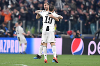 Leonardo Bonucci and Giorgio Chiellini of Juventus celebrate the victory at the end of the Uefa Champions League 2018/2019 round of 16 second leg football match between Juventus and Atletico Madrid at Juventus stadium, Turin, March, 12, 2019 <br />  Foto Andrea Staccioli / Insidefoto