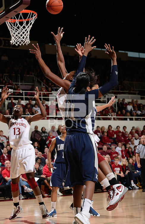 STANFORD, CA - DECEMBER 28: Nnemkadi Ogwumike (partially obscured; 30) of Stanford women's basketball puts up a shot in a game against Xavier on December 28, 2010 at Maples Pavilion in Stanford, California.  Stanford topped Xavier, 89-52.