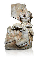 Roman Sebastian relief sculpture of Nero conquering Armenia Aphrodisias Museum, Aphrodisias, Turkey.   Against a white background.<br /> <br /> Nero, wearing only a cloak and sword strap, supports a slumped naked Armenia by her upper arms. She wears a soft eastern hat, and her bow and quiver are next to her. The heroic composition likens them to Achilles and the Amazon Queen Penthesilea. The inscription reads: Armenia - (Neron) Klaudios Drousos Kaisar Sebastos Germanikos.