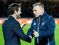 Dean Smith manager of Brentford greets Thomas Christiansen manager of Leeds United during the Sky Bet Championship match between Brentford and Leeds United at Griffin Park, London, England on 4 November 2017. Photo by Carlton Myrie.