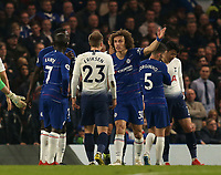 David Luiz of Chelsea makes a point with Christian Eriksen of Tottenham Hotspur during Chelsea vs Tottenham Hotspur, Premier League Football at Stamford Bridge on 27th February 2019
