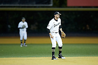 Wake Forest Demon Deacons second baseman Jake Mueller (6) on defense against the Florida State Seminoles at David F. Couch Ballpark on March 9, 2018 in  Winston-Salem, North Carolina.  The Seminoles defeated the Demon Deacons 7-3.  (Brian Westerholt/Four Seam Images)
