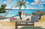 Illustrative image of businesswoman working at desk on island representing business trip