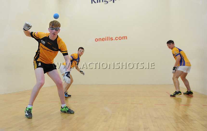 07/04/2018; GAA Handball O&rsquo;Neills 40x20 Championship Final Boys Minor Doubles Clare (Tiarnan Agnew/Mark Rodgers) v Kilkenny (Padraig Foley/Eoin Brennan); Kingscourt, Co Cavan;<br /> Eoin Brennan<br /> Photo Credit: actionshots.ie/Tommy Grealy