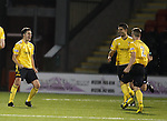 Liam Fox celebrates after his stunning free-kick finds the back of the net for Livingston's second goal of the night