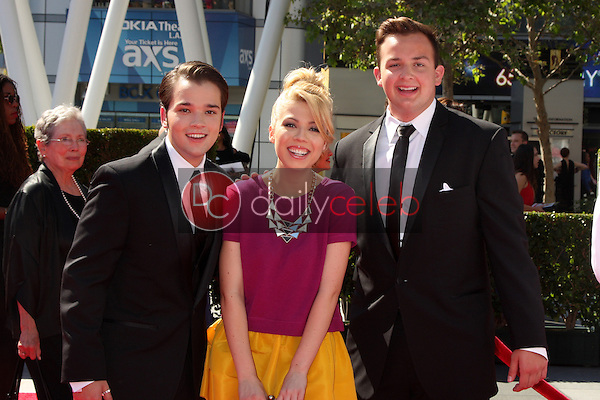 Nathan Kress, Jennette McCurdy, Noah Munck<br /> at the Primetime Creative Arts Emmy Awards  2013 Arrivals, Nokia Theater, Los Angeles, CA, 09-15-13<br /> David Edwards/DailyCeleb.Com 818-249-4998