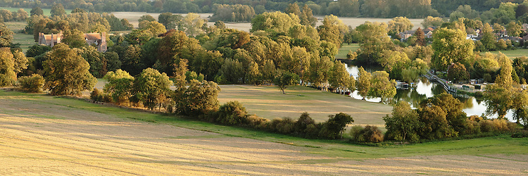 Autumn Evening over Mapledurham House and Weir, River Thames, Berkshire, Uk