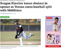 Verona's Reagan Klawiter pitches a one-hit shutout, as Verona tops Middleton 10-0 in Big Eight Conference high school baseball at Stampfl Field in Verona, Wisconsin on Tuesday, 4/9/19 | Wisconsin State Journal article page 1 Sports 4/10/19 and online at https://madison.com/wsj/sports/high-school/baseball/reagan-klawiter-tosses-shutout-in-opener-as-verona-earns-baseball/article_7c5b20fe-0cd4-50bb-9d59-79c93515628b.html