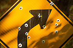 Road curve sign with bullet holes.