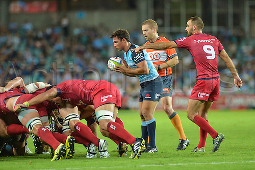 27.02.2016.  Sydney, Australia. Super Rugby. NSW Waratahs versus Queensland Reds. Waratahs scrum half Nick Phipps feeds the scrum. The Waratahs won 30-10.