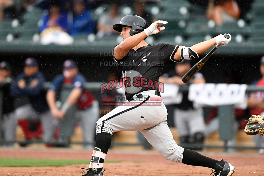 Seby Zavala (21) of the Kannapolis Intimidators from the North team bats at the South Atlantic League All-Star Game on Tuesday, June 20, 2017, at Spirit Communications Park in Columbia, South Carolina. The game was suspended due to rain after seven innings tied, 3-3. (Tom Priddy/Four Seam Images)