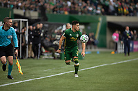 PORTLAND, OR - MARCH 01: Jorge Moreira #2 of the Portland Timbers looks to pass the ball during a game between Minnesota United FC and Portland Timbers at Providence Park on March 01, 2020 in Portland, Oregon.