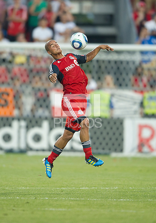Toronto FC defender Mikael Yourassowsky #19 in action during an MLS game between the FC Dallas and the Toronto FC at BMO Field in Toronto on July 20, 2011..FC Dallas won 1-0.
