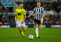 Blackburn Rovers' Lewis Travis vies for possession with Newcastle United's Sean Longstaff<br /> <br /> Photographer Alex Dodd/CameraSport<br /> <br /> Emirates FA Cup Third Round - Newcastle United v Blackburn Rovers - Saturday 5th January 2019 - St James' Park - Newcastle<br />  <br /> World Copyright &copy; 2019 CameraSport. All rights reserved. 43 Linden Ave. Countesthorpe. Leicester. England. LE8 5PG - Tel: +44 (0) 116 277 4147 - admin@camerasport.com - www.camerasport.com