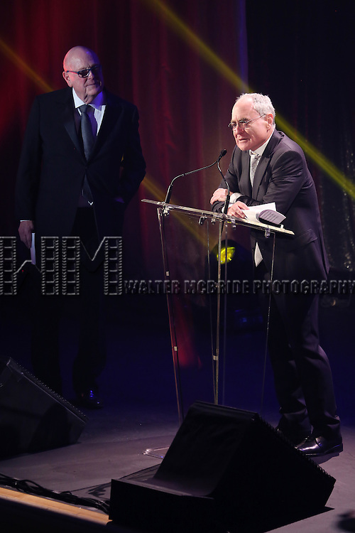 Thomas E. Tufts and Todd Haimes onstage during the Roundabout Theatre Company's  50th Anniversary Gala at The Waldorf-Astoria on February 29, 2016 in New York City.