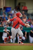 Peoria Chiefs designated hitter Luken Baker (47) follows through on a swing during a game against the Bowling Green Hot Rods on September 15, 2018 at Bowling Green Ballpark in Bowling Green, Kentucky.  Bowling Green defeated Peoria 6-1.  (Mike Janes/Four Seam Images)