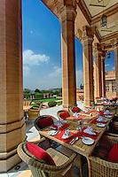 Large outdoor patio table setting, Umaid Bhawan Palace, Jodhpur, India.