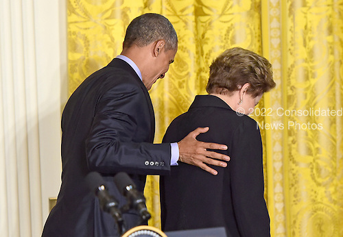 United States President Barack Obama, left, and President Dilma Rousseff of Brazil, right, depart the East Room of the White House in Washington, D.C. following their joint press conference on Tuesday, June 30, 2015.<br /> Credit: Ron Sachs / CNP