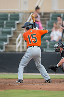 Jared Barnes (15) of the Greensboro Grasshoppers at bat against the Kannapolis Intimidators at Kannapolis Intimidators Stadium on August 13, 2017 in Kannapolis, North Carolina.  The Grasshoppers defeated the Intimidators 3-0.  (Brian Westerholt/Four Seam Images)