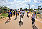 Mar. 14, 2013; Design professor Robert Sedlack walks with a group of design students near Pretoria, South Africa. The students were conducting in-person research on design projects aimed at addressing several issues affecting South Africa and Johannesburg.<br /> <br /> Photo by Matt Cashore/University of Notre Dame