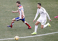 Atletico de Madrid's Gabi Fernandez (l) and Real Madrid's Cristiano Ronaldo during La Liga match.February 7,2015. (ALTERPHOTOS/Acero) /NORTEphoto.com