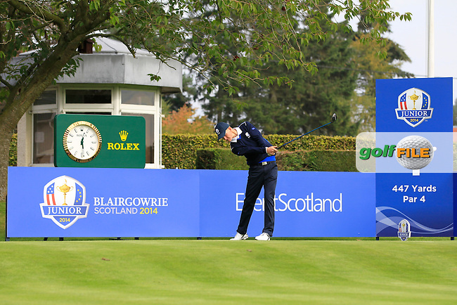 Marcus Kinhult (SWE) on the 1st tee of the Mixed Fourballs during the 2014 JUNIOR RYDER CUP at the Blairgowrie Golf Club, Perthshire, Scotland. <br /> Picture:  Thos Caffrey / www.golffile.ie