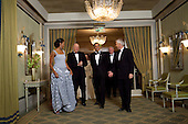 Oslo, Norway - December 10, 2009 -- United States President Barack Obama and First Lady Michelle Obama attend the 2009 Nobel Banquet in the Hall of Mirrors at the Grand Hotel in Oslo, Norway, Thursday, December 10, 2009. .Mandatory Credit: Samantha Appleton - White House via CNP