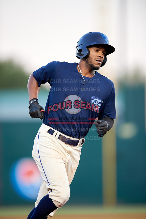 Mobile BayBears shortstop Alberto Triunfel (2) rounds the bases after hitting a home run in the bottom of the third inning during a game against the Pensacola Blue Wahoos on April 25, 2017 at Hank Aaron Stadium in Mobile, Alabama.  Mobile defeated Pensacola 3-0.  (Mike Janes/Four Seam Images)