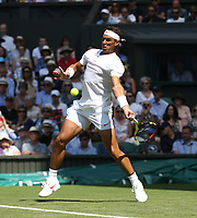 Rafael Nadal (ESP) in action during his match against Dudi Sela (ISR)<br /> <br /> Photographer Rob Newell/CameraSport<br /> <br /> Wimbledon Lawn Tennis Championships - Day 2 - Tuesday 3rd July 2018 -  All England Lawn Tennis and Croquet Club - Wimbledon - London - England<br /> <br /> World Copyright &not;&copy; 2017 CameraSport. All rights reserved. 43 Linden Ave. Countesthorpe. Leicester. England. LE8 5PG - Tel: +44 (0) 116 277 4147 - admin@camerasport.com - www.camerasport.com