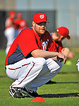 19 February 2011: Washington Nationals' pitcher Todd Coffey warms up with stretching exercises prior to working on Spring Training drills at the Carl Barger Baseball Complex in Viera, Florida. Mandatory Credit: Ed Wolfstein Photo
