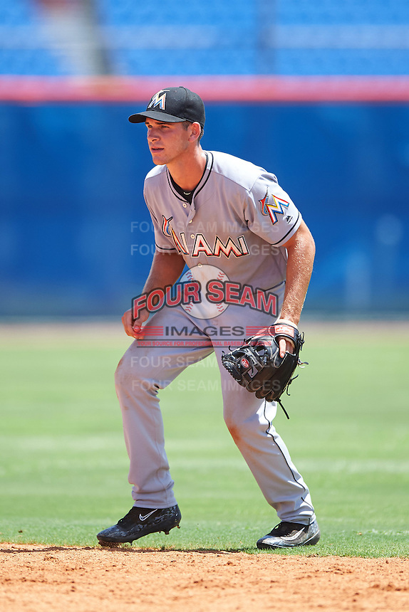 GCL Marlins second baseman Mathew Brooks (8) during a game against the GCL Mets on August 12, 2016 at St. Lucie Sports Complex in St. Lucie, Florida.  GCL Marlins defeated GCL Mets 8-1.  (Mike Janes/Four Seam Images)