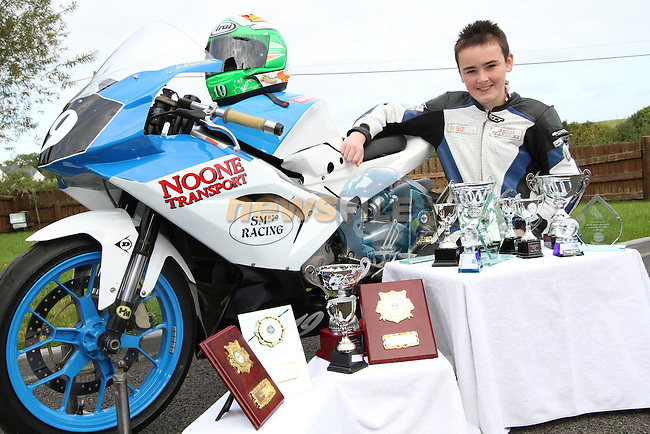 Aaron Clifford with all the prizes he has won this year...Photo NEWSFILE/Jenny Matthews.