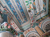 Ornate painted ceiling at Jain Temple, Mumbai