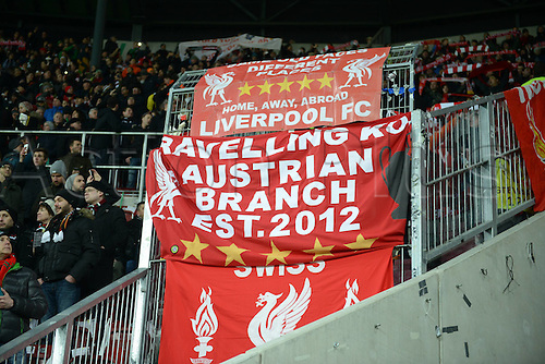 18.02.2016. Augsburg, Germany. UEFA Europa League football. Augsburg versus Liverpool FC.  Fans of FC Liverpool fly their banners
