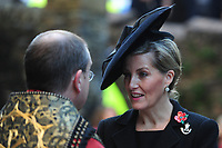 Pictured: Sophie, Countess of Wessex arrives at Llandaff Cathedral, Cardiff, Wales, UK.  Sunday 11 November 2018<br /> Re: Commemoration for the 100 years since the end of the First World War on Remembrance Day at the Llandaff Cathedral, in Llandaff, Cardiff, Wales, UK.