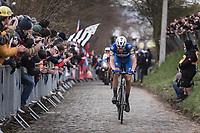 Later winner Niki Terpstra (NED/Quick Step Floors) solo up the 3th passage of the Oude Kwaremont.<br /> <br /> 102nd Ronde van Vlaanderen 2018<br /> 1day race: Antwerp &rsaquo; Oudenaarde - BEL (265k)