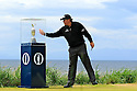 Phil Mickelson (USA) tempts fate by touching the trophy cabinet on the 1st tee prior to playing the final round of the 145th Open Championship played at Royal Troon, Ayrshire, Scotland. 14 - 17 July 2016 (Picture Credit / Phil Inglis)