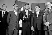 United States President John F. Kennedy meets Mayor Richard J. Daley (Democrat of Chicago) and officials from Illinois in the Oval Office of the White House in Washington, DC on July 11, 1962.  From left to right: Chairman of the Real Estate Research Corporation, James C. Downs, Jr.; US Representative Sidney R. Yates (Democrat of Illinois); President Kennedy; Mayor Daley; US Representative Thomas J. O&rsquo;Brien (Democrat of Illinois).<br /> Credit: Arnie Sachs / CNP
