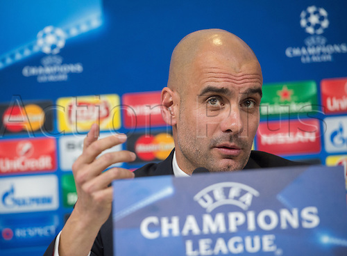22.02.2016. Turin, Italy.    Munich's head coach Pep Guardiola delivers remarks during an international press conference of FC Bayern Munich in Turin, Italy, 22 February 2016. Bayern Munich will face Juventus F.C. in the UEFA Champions League last 16 first leg soccer match in Turin on 23 February 2016.