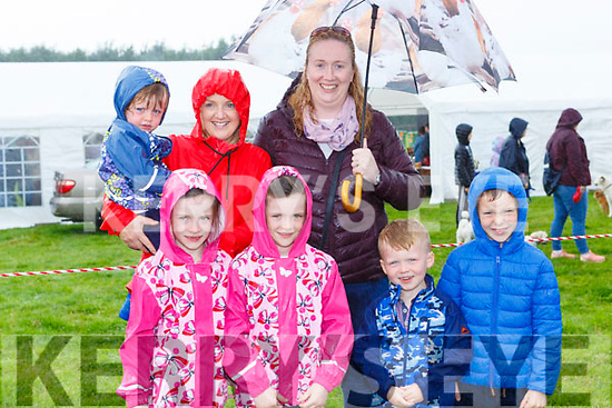 Charlie, Kate, Ella, Na Caroline Foley, Jack, Ronan and Eilish Doyle Beaufort at the Treshing for Cancer in Beaufort on Sunday