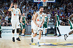 Real Madrid Luka Doncic and Sergio Llull celebrating a point during Turkish Airlines Euroleague Quarter Finals 3rd match between Real Madrid and Panathinaikos at Wizink Center in Madrid, Spain. April 25, 2018. (ALTERPHOTOS/Borja B.Hojas)