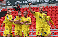 Fleetwood Town's James Wallace celebrates scoring his side's second goal <br /> <br /> Photographer David Shipman/CameraSport<br /> <br /> The EFL Sky Bet League One - Doncaster Rovers v Fleetwood Town - Saturday 6th October 2018 - Keepmoat Stadium - Doncaster<br /> <br /> World Copyright &copy; 2018 CameraSport. All rights reserved. 43 Linden Ave. Countesthorpe. Leicester. England. LE8 5PG - Tel: +44 (0) 116 277 4147 - admin@camerasport.com - www.camerasport.com