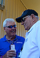 Jul, 22, 2012; Morrison, CO, USA: NHRA former top fuel dragster driver Don Garlits (right) talks with track owner John Bandimere during the Mile High Nationals at Bandimere Speedway. Mandatory Credit: Mark J. Rebilas-US PRESSWIRE