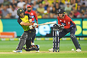 10th February 2018, Melbourne Cricket Ground, Melbourne, Australia; International Twenty20 Cricket, Australia versus England;  Glenn Maxwell of Australia plays a sweep shot