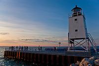 15-16 August 2008  Formula Weekend, Charlevoix, Michigan.Lighthouse and sunset 8.15.08...©F.Peirce Williams 2008..F. Peirce Williams .photography.P.O.Box 455 Eaton, OH 45320.p: 317.358.7326  e: fpwp@mac.com.